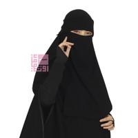 Niqab Bandana Poni Chiffon - Brand Uniqob - Hitam