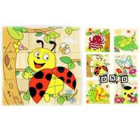 Mainan Edukatif / Edukasi Anak - Puzzle Balok Kayu - 6 in 1 Serangga