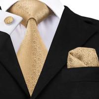 Set champagne coklat gold isi dasi panjang, pocket square, cufflinks
