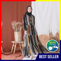 Gamis Dewasa Bahan Katun Rayon Premium- Homey Dress Salur Adem Dipakai