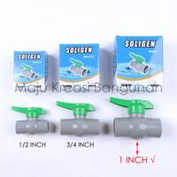 Ball Valve SOLIGEN Stop Kran PVC 1 Inch Inci Stop Keran Air CN001 1In