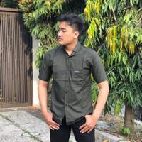 baju kemeja lengan pendek casual formal pria polos kantoran - Hijau army, M