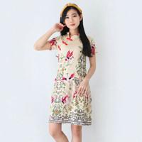 Baju Batik Wanita-Dress Batik Merah Merak Size M dan L