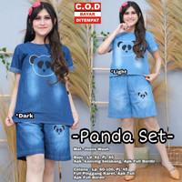 Baju Setelan Wanita Terbaru - Panda Set - Setelan Celana Pendek Jeans