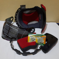 paket komplit busa helm kyt x rocket dan kaca visor helm warna pelangi