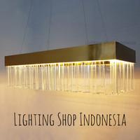 Lampu Gantung Kristal LED Lobby Hotel Ruang meja makan panjang 90cm