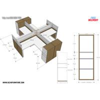 Meja kantor cubicle L untuk 4 - 8 staf