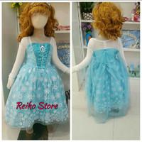 Dress Baju Kostum Gaun Princess Frozen Elsa (09) - Rok Motif
