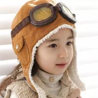 Topi pilot bayi korea Baby aviator hat with google pilot costume kids