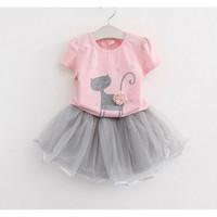 baju anak setelan dress motif kucing