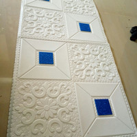 wallpaper foam peredam panas pada plafon-batik kristal birunavy tipe A