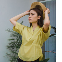 KORZ Band Collar Kimono Sleeve Blouse - Yellow