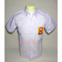 Kemeja SMP/Baju seragam sekolah SMP logo OSIS Size :M L XL s/d L8 - Putih, L7
