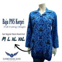 Baju PNS Korpri Batik Biru Lengan Panjang Wanita FULL FURING