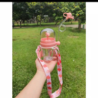 Botol Minum Anak Karakter Air Mancur+TALI+Tutup Sedotan 260ml - B819-2