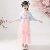 Hanfu Dress Kostum Princess Chinese Wind Ancient Lengan Panjang anak