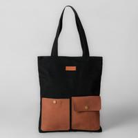 Pamole - Two Pocket Tote bag Kanvas Penutup Resleting Kombinasi Kulit