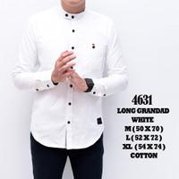 4631C Baju Kemeja Casual Pria Lengan Panjang Putih Murah Grosir Cotton