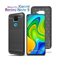 Premium Carbon Case Xiaomi Redmi Note 9 Black - Soft Case Glass Pro