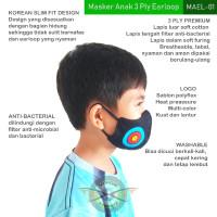MASKER PANAHAN ARCHERY PREMIUM SNI 3 PLY EARLOOP UKURAN ANAK-ANAK