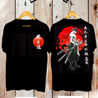 baju kaos pria/baju kaos samurai jepang/baju kaos samurai warna hitam