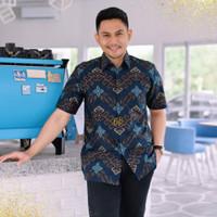 Baju Batik Pria Pendek Katun Furing Songket Modern Kantor Jumbo XXXXL