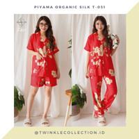 Baju Tidur Piyama Organic Silk Wanita Greet T-031 - RED SERIES