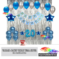Paket Dekorasi Ulang Tahun Tema Silver   Decoration Set Silver - Tema Bintang, Silver - Blue