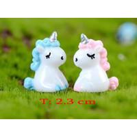 TOPPER CHIBI Kuda Unicorn 2CMPelangi RAINBOW Dekorasi Kue Ulang Tahun