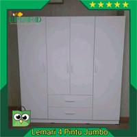 Lemari Pakaian Minimalis 4 Pintu Putih Jumbo
