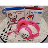 Headset Bando Music Karakter Hellokitty & Doraemon - Merah Muda