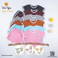 Setelan Kaos Anak Baju retro tshirt and Short - Twin Tiger Baby 0 - 5