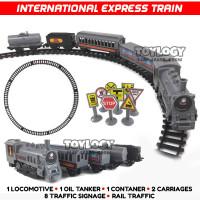 Mainan Anak Kereta Api Express Train Rail Sound Smoke Rel Lokomotif