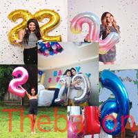 Balon Foil Angka 80 cm | Biru, Gold, Silver, Pink, Rainbow