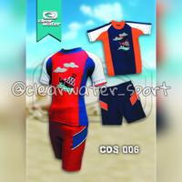 Baju Renang Anak Laki-Laki dan Perempuan Dapat 1 Set 2 Pcs - XL, Merah
