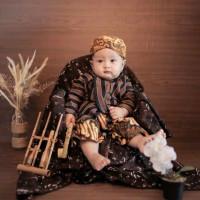 SETELAN BAJU Surjan Lurik Anak+Celana Batik+Blangkon Solo Size 0, S, M