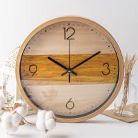 ARAMI Wood Stripes Design Wall Clock   Jam Dinding Besar Corak Kayu