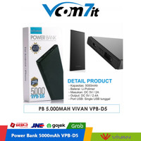 VIVAN VPB-D5 5000mAh 2.4A Single USB Power Bank Original