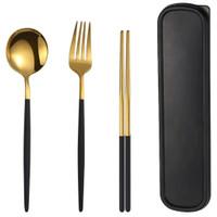 Sendok Garpu Set Cutlery Korea Japan Peralatan Makan Stainless Travel