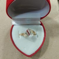 cincin ketupat mata merah putih 1 gram emas muda