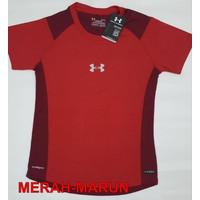 Kaos Fitnes Olahraga Wanita Zumba Senam Erobik Trend Pendek running - Merah, S