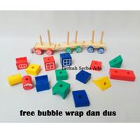 [SNI] APE Kereta Pelangi Balok Kayu Montessori Toy Mainan Edukasi