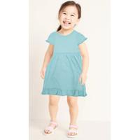 Dress Baju Anak Bayi Import Polos Biru Muda