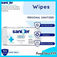 Saniter Antibacterial Antiseptic Wipes - Tisu Basah Personal Sanitizer