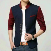 Blazer pria/Jas balzer pria premium warna kombinasi navy maroon - Biru, M