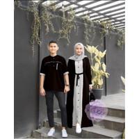 Baju Couple Pasangan Kemeja Gamis Kancing Busui Sarimbit Casual Pesta - Hitam