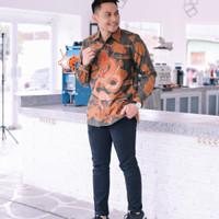 baju kemeja batik pria motif naga bahan doby lengan panjang pesta