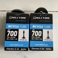 Ban dalam Delitire 700c x 25 per 28 80 mm presta untuk sepeda Roadbike