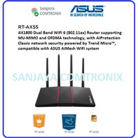 ASUS RT-AX55 AX1800 Dual Band WiFi 6 (802.11ax) Router MU-MIMO OFDMA