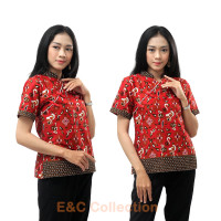 Atasan Batik Wanita Cheongsam Kombinasi - Blouse Batik Wanita - S